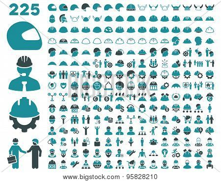 Work Safety and Helmet Icon Set.