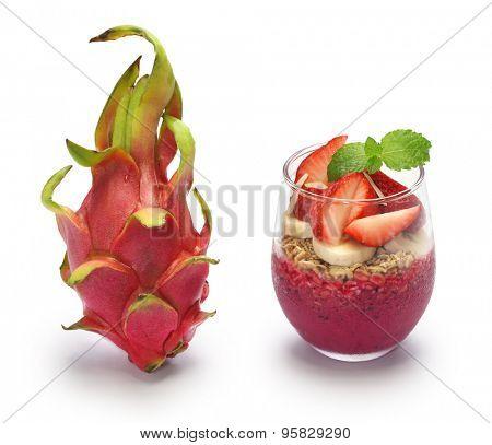 dragon fruit and pitaya bowl on white background