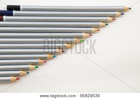 Colouring Pencils In A Line