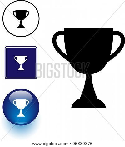 trophy cup symbol sign and button