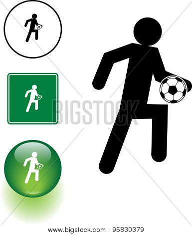 soccer player knee dribbling, symbol sign and green glass button