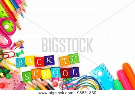 Back To School wooden blocks with corner border