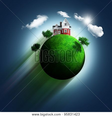 3D render of a grassy globe with a house and trees zooming through a blue sky background