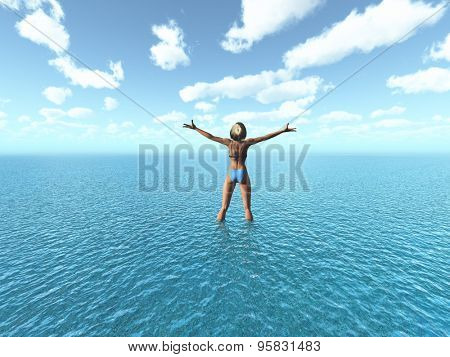 3D render of a female in a bikini with her arms outstretched stood in the sea