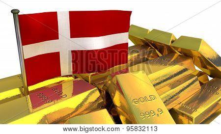 Danish economy concept with gold bullion