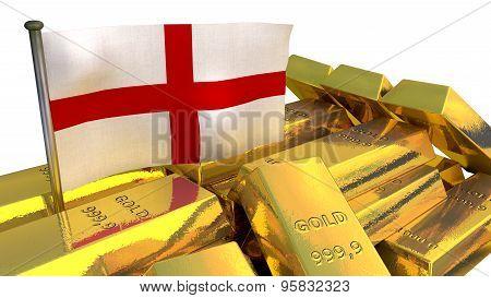 England economy concept with gold bullion