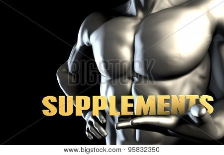 Supplements With a Business Man Holding Up as Concept