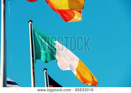 Ireland National Flag At European Parliament