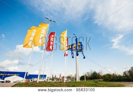 Ikea Store Flags Near Its Entrance