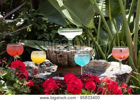 Grouping Of Margarita Glasses And Drink