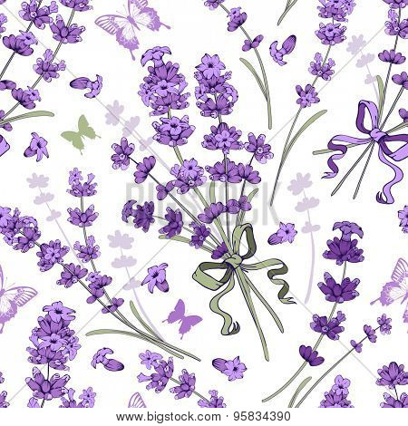 Seamless pattern with hand drawn floral elements in engraving style - fragrant lavender. Vector illustration.