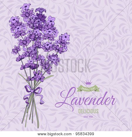Vintage pattern with hand drawn floral bouquet of fragrant lavender in engraving style. Vector illustration.