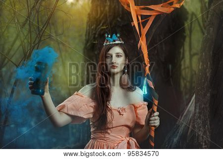 Girl Fairy In The Magical Forest.