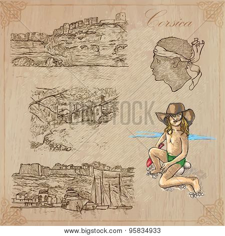 Corsica, Travel - Hand Drawn Vector Pack