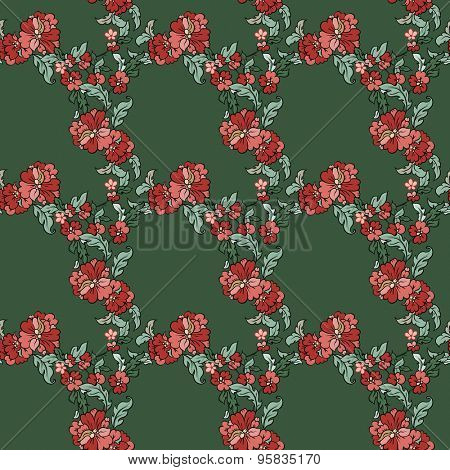 Beautiful  floral seamless pattern with greenbackdrop. Vector background.  Flowers and leaves.