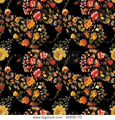 Oriental  indian paisley seamless pattern with black background.  Floral motifs.