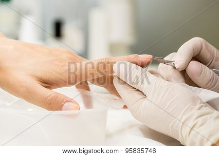 Manicure process in a beauty salon