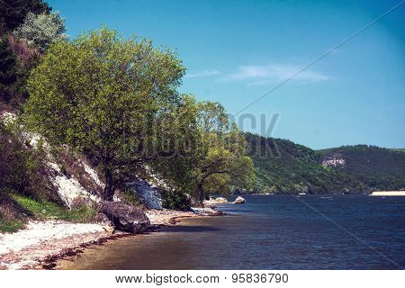 Beautiful summer water landscape in sunbeam