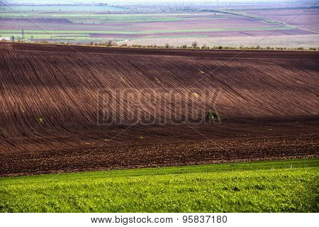 Agricultural field. Arable land in spring, ready for the sowing season.