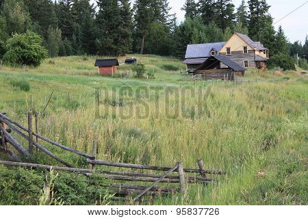 Old elegant log house scenic