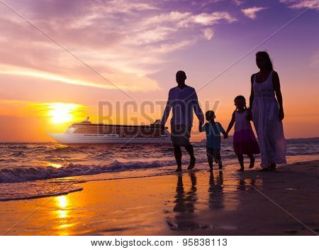 Family Walking Beach Sunset Travel Holiday Concept
