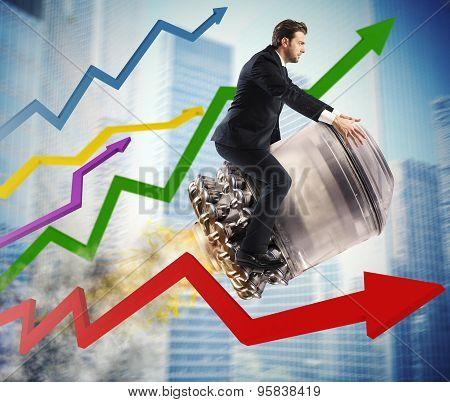 Urban businessman between stats