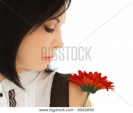 Woman Looking On The Red Flower