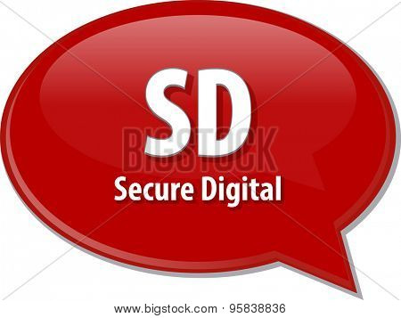 Speech bubble illustration of information technology acronym abbreviation term definition SD Secure Digital