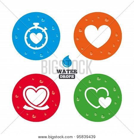 Heart ribbon icon. Timer stopwatch symbol.