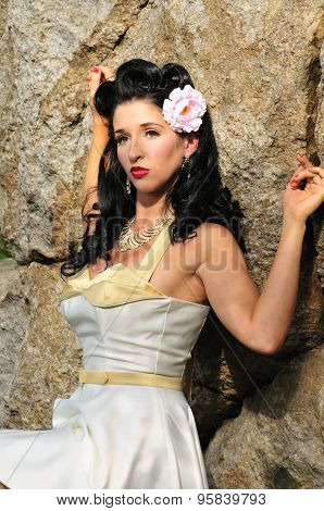 Glamor Portrait Of A Beautiful Sultry Pinup Girl