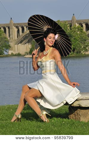 Elegant Pinup Girl With A Black Parasol