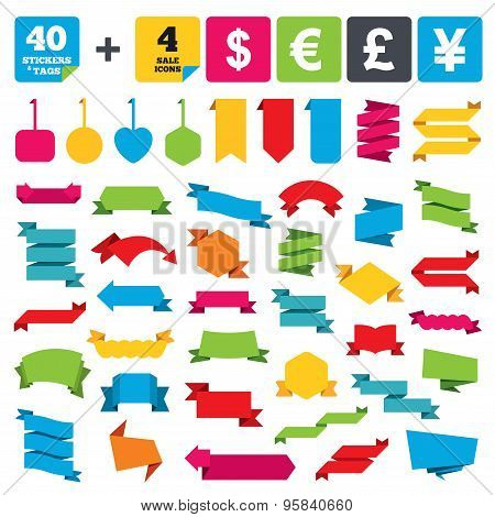 Dollar, Euro, Pound and Yen currency icons.