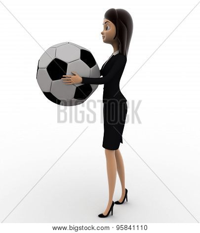 3D Woman Holding Big Football In Hand Concept