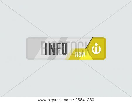 Info button - information sign icon, futuristic hi-tech UI design. Website, mobile applications icon, online design, business, gui or ui