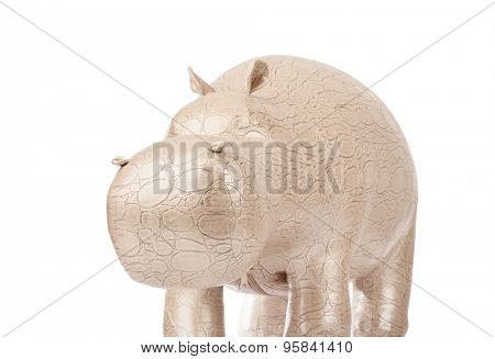 Toy hippopotamus isolated on white background