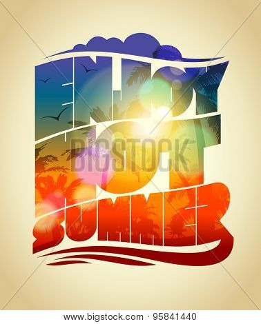 Happy vacation card with sunset tropical backdrop silhouette. Enjoy hot summer text design, eps10