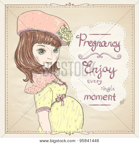 Pregnancy quotes card. Enjoy every single moment, graphic portrait of a pregnant young woman in yellow dress and hat