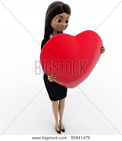 3D Woman Holding Big Red Heart Concept