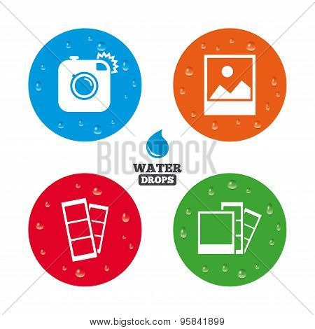 Photo camera icon. Flash light and landscape.