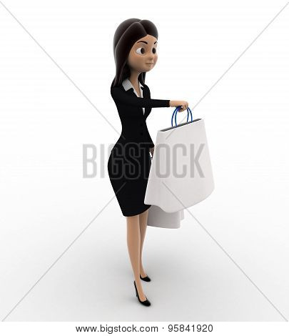 3D Woman With White Shopping Bags Concept