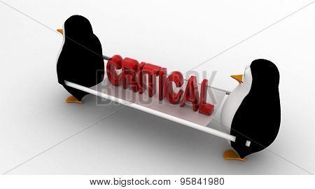 3D Penguin With Stretcher And Critical Text Concept