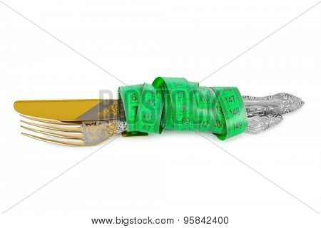 Fork knife and measuring tape isolated on white background