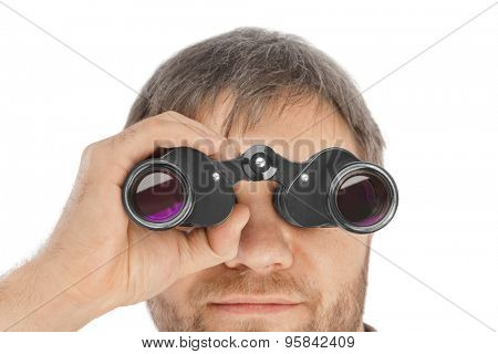 Man with binoculars isolated on white background