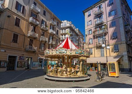 LA SPEZIA, ITALY - APRIL 13, 2015: Italian architecture on the streets of La Spezia, Italy. La Spezia is a city in the Liguria region located between Genoa and Pisa.