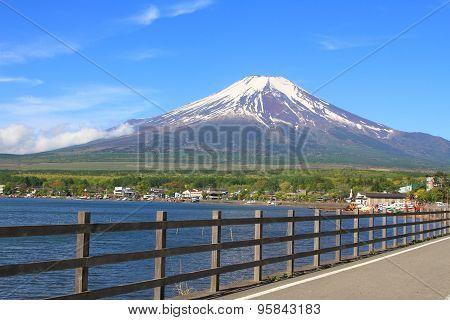 Path to Mt.Fuji at moonrise, Yamanaka lake, Yamanashi, Japan