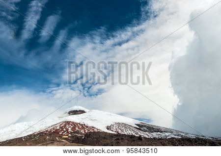 Cotopaxi volcano over the plateau, Andes of Ecuador
