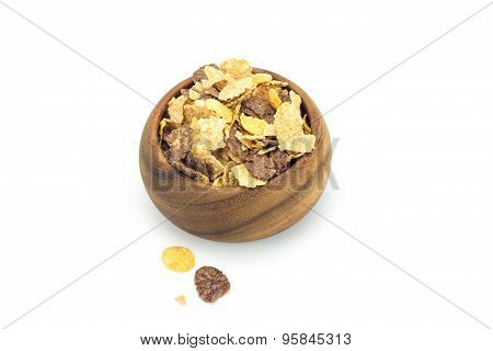 Cereal In Wooden Blow On White Background
