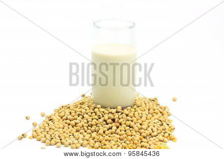 Soy Beans And Soy Milk Isolated On White Background