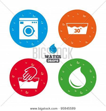 Wash icons. Machine washable at thirty degrees.