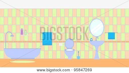 Bathroom interior. Flat style. Furniture display panorama
